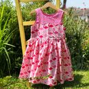 Girls Handmade Flamingo Print Party Dress