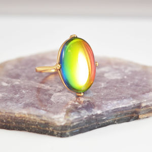 Rainbow Crystal Cocktail Ring - rings
