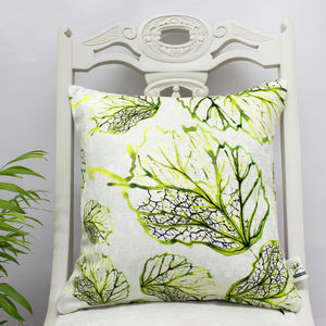 Inky Leaf Botanical Print Cushion