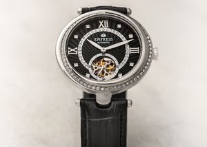 Empress Stella Semi Skeleton Leather Band Watch