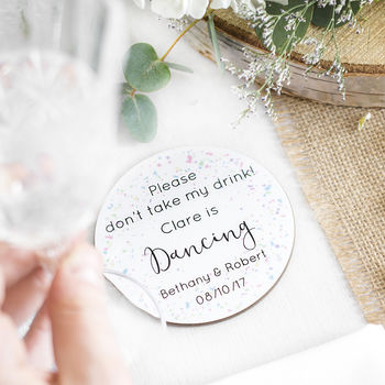 Personalised Wedding Favour Drink Saver Coaster