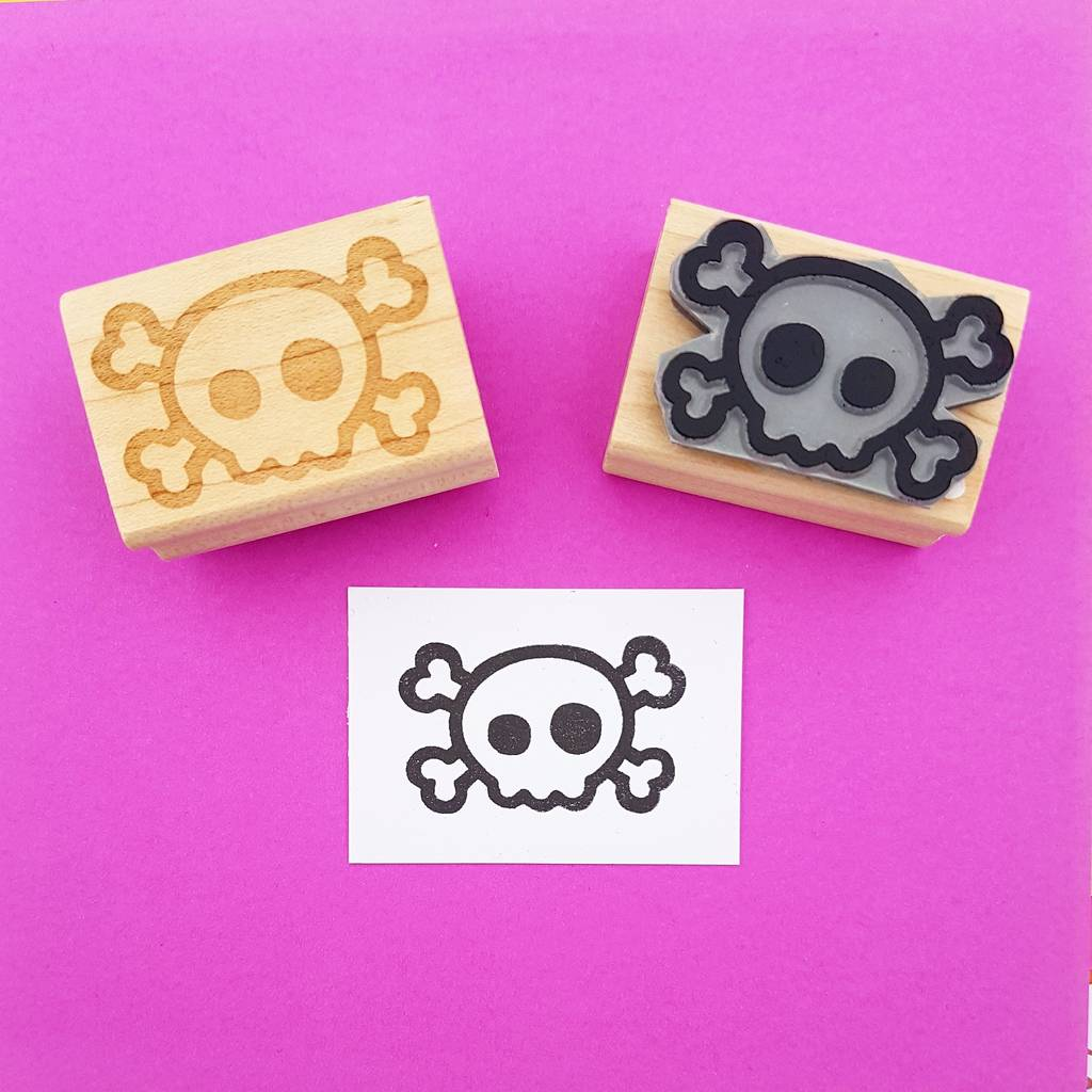 Small Skull And Cross Bones Rubber Stamp By Skull And Cross Buns