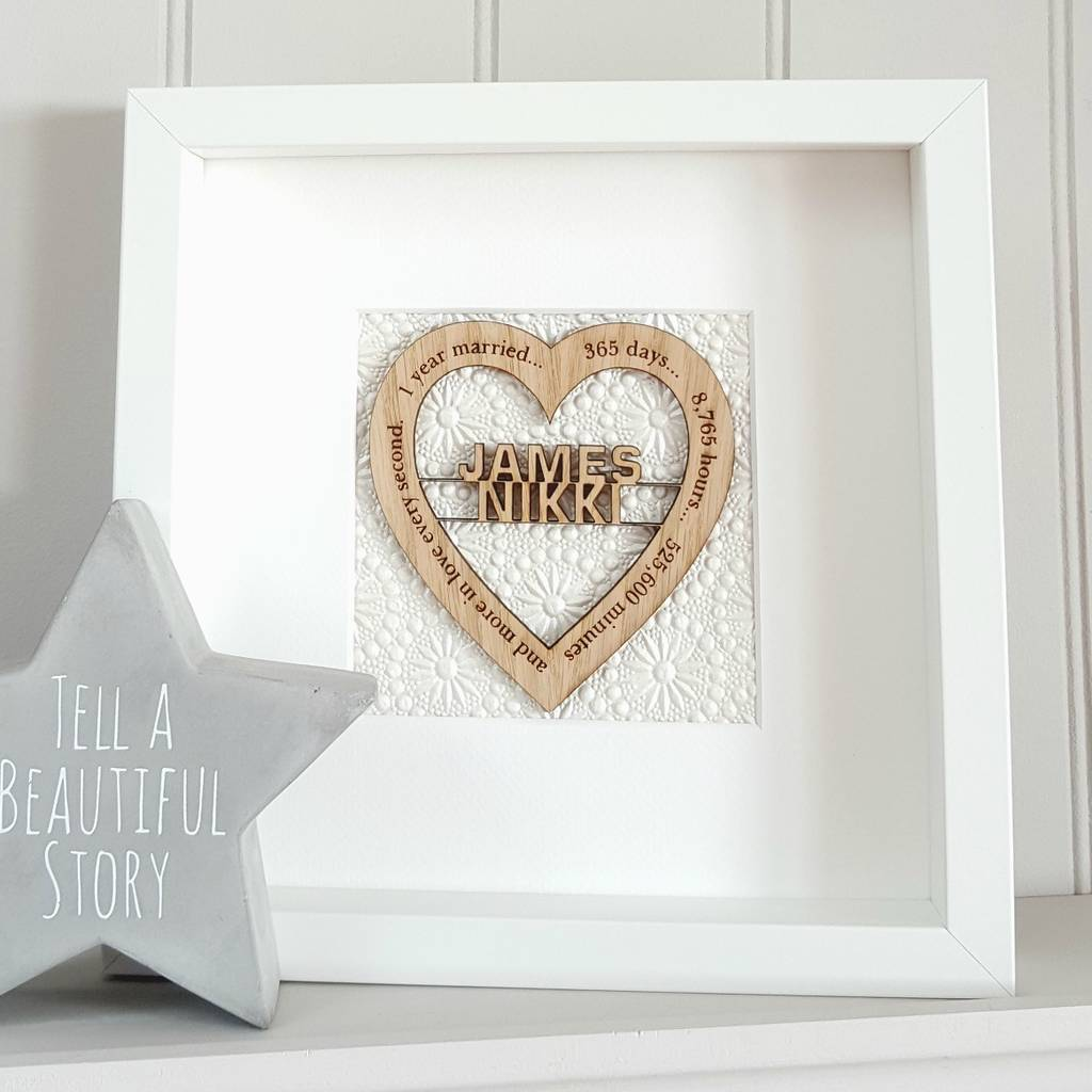first wedding anniversary personalised oak heart by little foundry ...