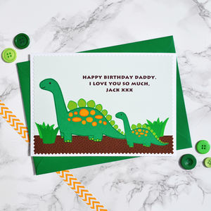 'Dinosaur And Baby' Personalised Birthday Card - birthday cards