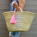 Pineapple Straw Basket With Tassel