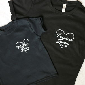 Personalised Heart Mum And Child Matching T Shirt Set - clothing