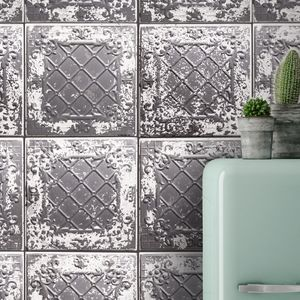 Tin Tile Charcoal By Woodchip And Magnolia - wallpaper
