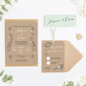 Kraft And Blush Wild Flowers Wedding Invitation Bundle