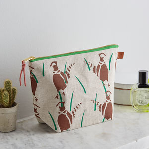 Pheasants Countryside Screen Printed Linen Wash Bag - wash & toiletry bags