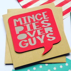 Funny Papercut Christmas Card 'Mince Pies Over Guys' - cards & wrap