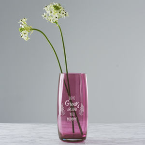 Personalised 'Love Grows' Coloured Vase