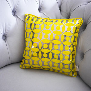 Metallic Circle Print Silk Cushion - cushions