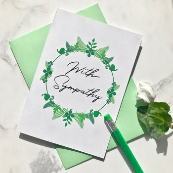 Sympathy Foliage Wreath Card