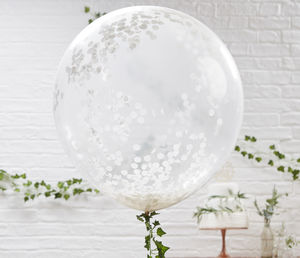 Giant White Confetti Balloons Three Pack - balloons