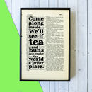 Tea And Buns Quote Print On Book Art