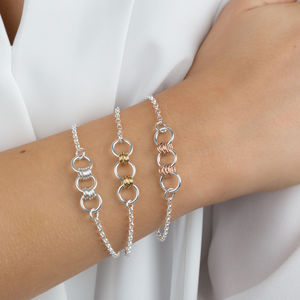 Silver Bracelet With Silver, Gold Or Rose Gold Links