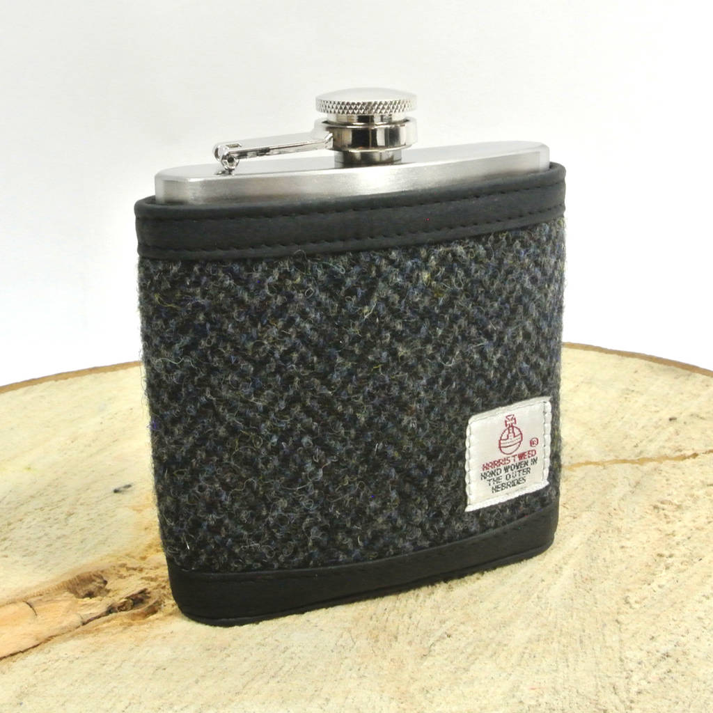 Harris Tweed And Leather Hip Flask