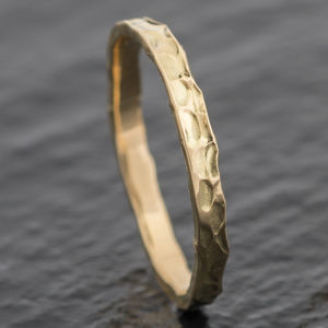 Welsh And Recycled Gold Hammered 2.5mm Wedding Ring - rings