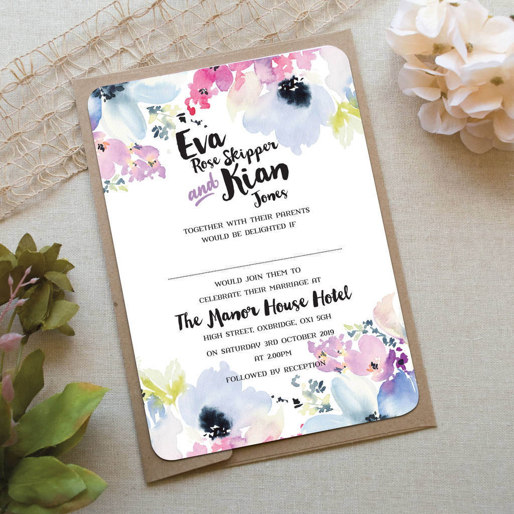 Floral Bloom Wedding Invitation By Love Wedding Print