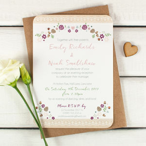 Winter Floral With Pine Cones Evening Invite With Gems