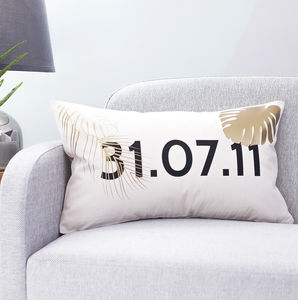Personalised Tropical Date Cushion