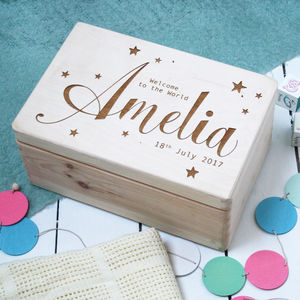 Personalised Wooden New Baby Keepsake Box - storage & organisers