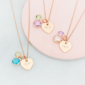 Personalised You And Me Heart Birthstone Necklace