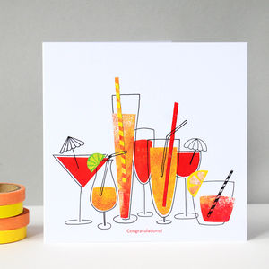 Congratulations Cocktails Greetings Card