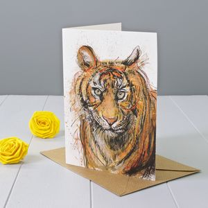 Tiger Art Greeting Card - birthday cards