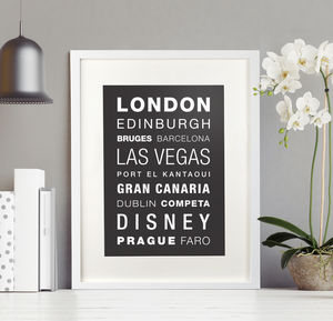 Personalised 'Favourite Destinations' Print