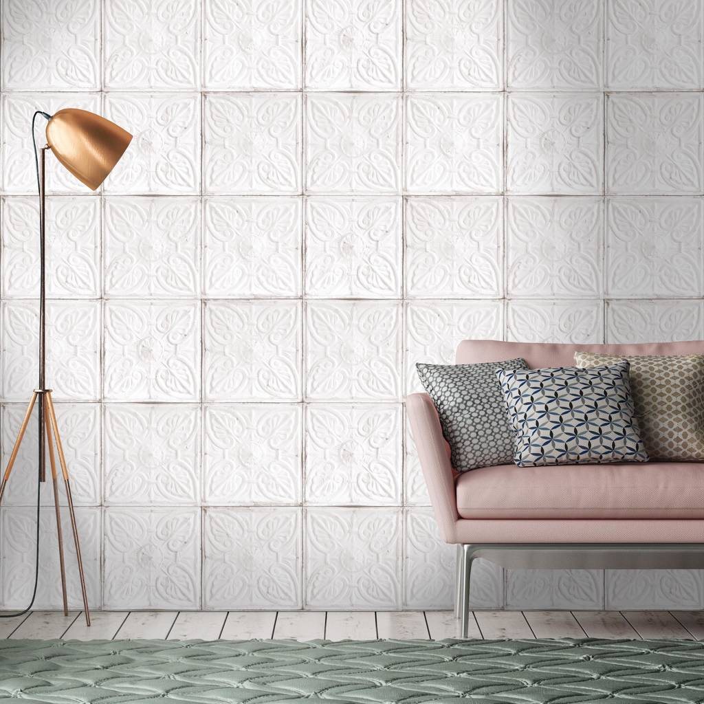 Tin tile in white wallpaper by woodchip and magnolia by woodchip magnolia - American tin tiles wallpaper ...
