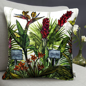 Glasshouse Tropical Botanical Print Cushion - bedroom