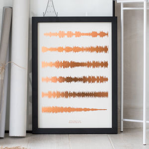 Metallic Personalised Favourite Song Sound Wave Print - summer sale