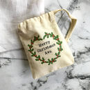 Personalised Christmas Holly Mini Gift Bag