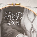 Bespoke Cotton Embroidered Photo Hoop - white cursive embroidery