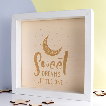 Sweet Dreams Little One Engraved Wood Box Frame