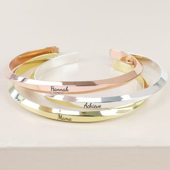 Personalised Geometric Open Bangle