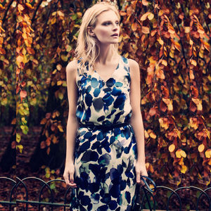 Blue And White Floral Silk Satin Shift Dress