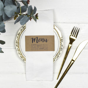 Wedding Menu Napkin Wraps