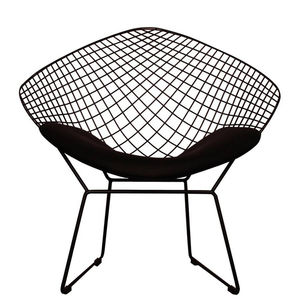 A Black Or Chrome Diamond Retro Modern Mesh Chair - furniture