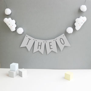 Personalised Cloud Bunting With Honeycomb Pom Poms - decorative accessories