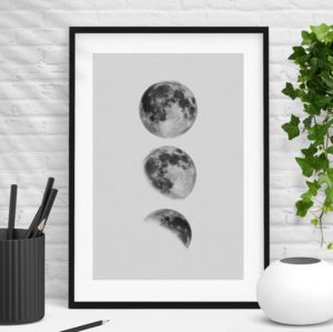 Phases Of The Moon Black And White Print - nature & landscape