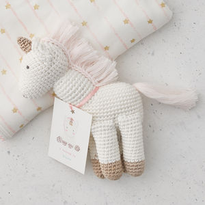 Hand Crocheted Unicorn Toy - christening gifts