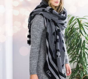 Personalised Charcoal Leopard Print Blanket Scarf - our top new picks