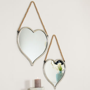 L'amour Set Of Two Hanging Heart Mirrors
