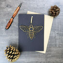 Manchester Bee Greetings Card With Hanging Keepsake