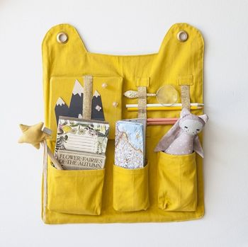 Organic Cotton Animal Wall Pocket Organiser