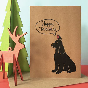 Happy Christmas Card With Robin And Any Dog Breed