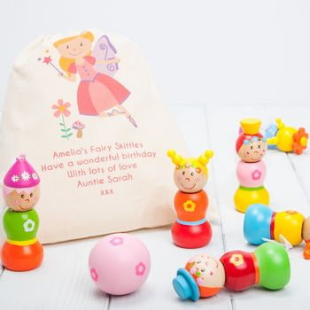 Children's Wooden Fairy Skittles And Personalised Bag