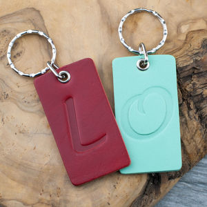 Personalised Monogram Leather Keyring - summer sale